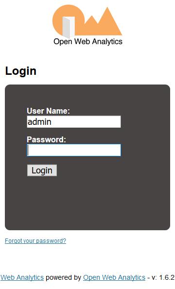 Open Web Analytics login screen