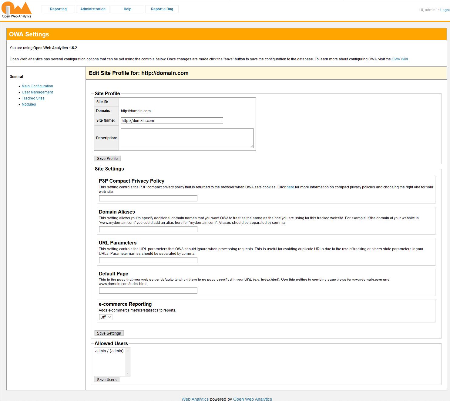 Open Web Analytics site profile