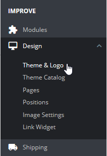 Select Theme and logo under Design