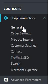 Select General under Shop Parameters