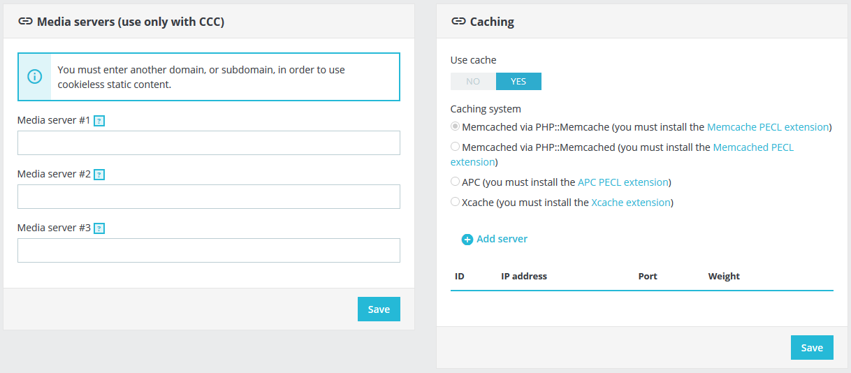 Enable caching settings