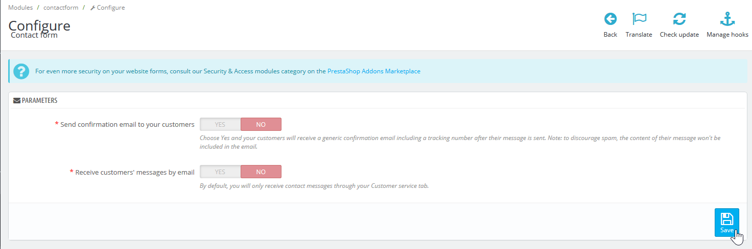 Contact form module options