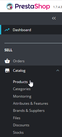 Press catalog and products in menu