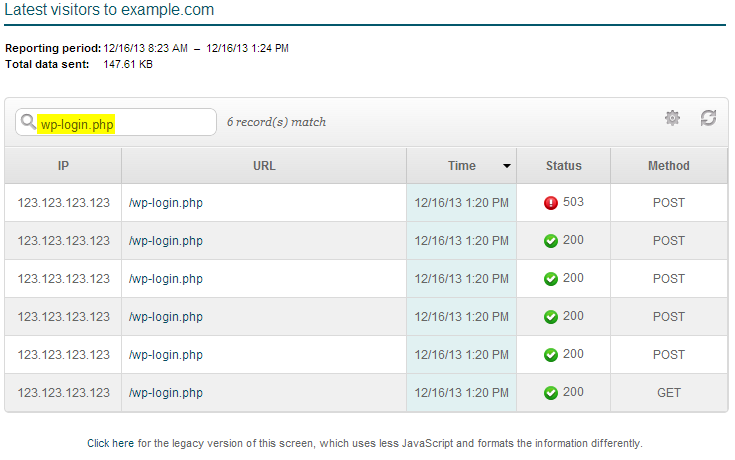 wp-login.php attempts in cpanel latest visitors tool