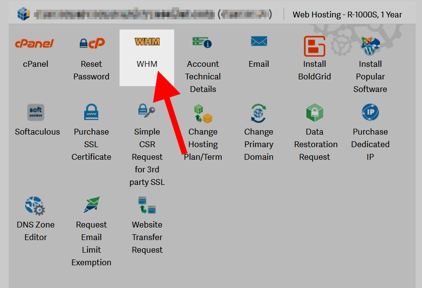Click on the WHM icon to access the Web Host Manager interface