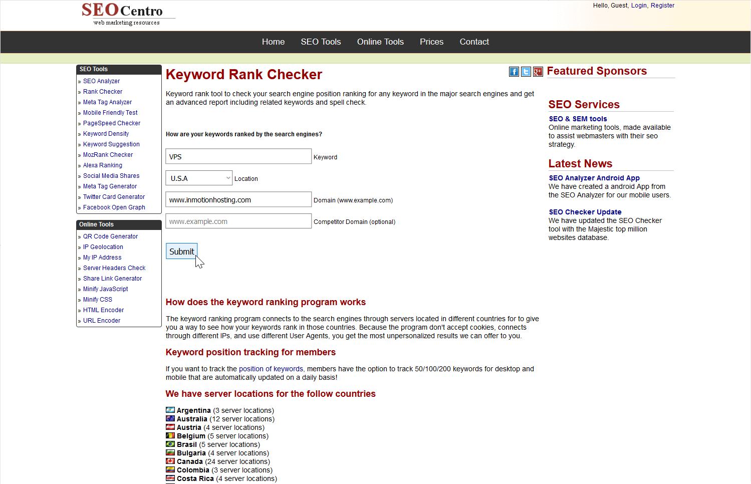 keyword rank checker form