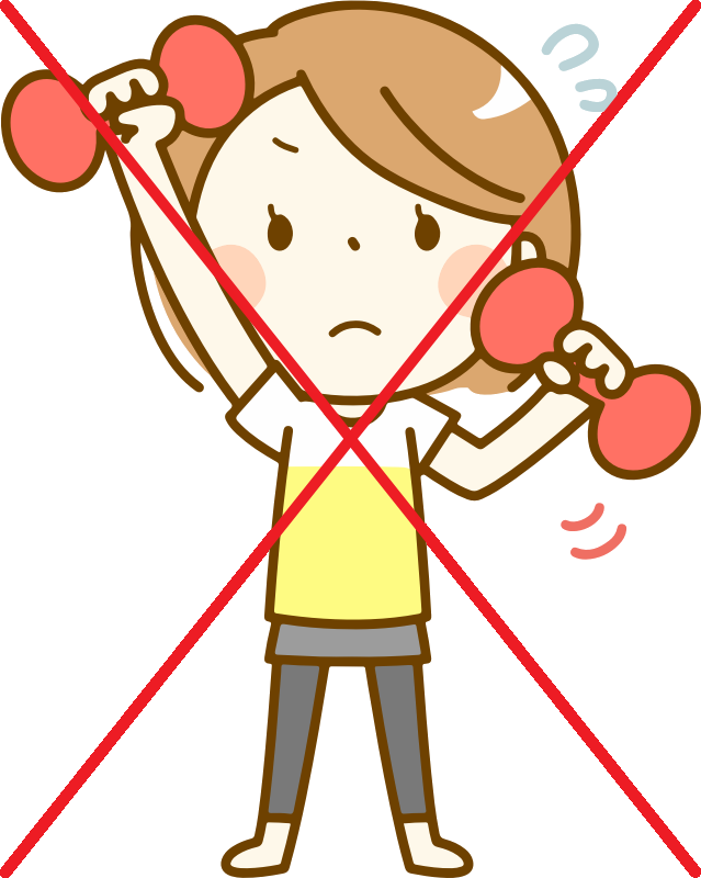 sad girl exercising and big X by icons8
