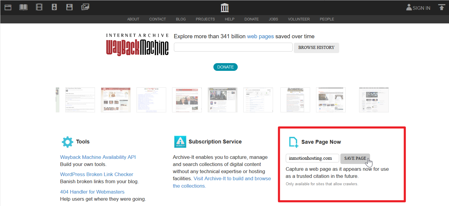 archive.org/web screenshot