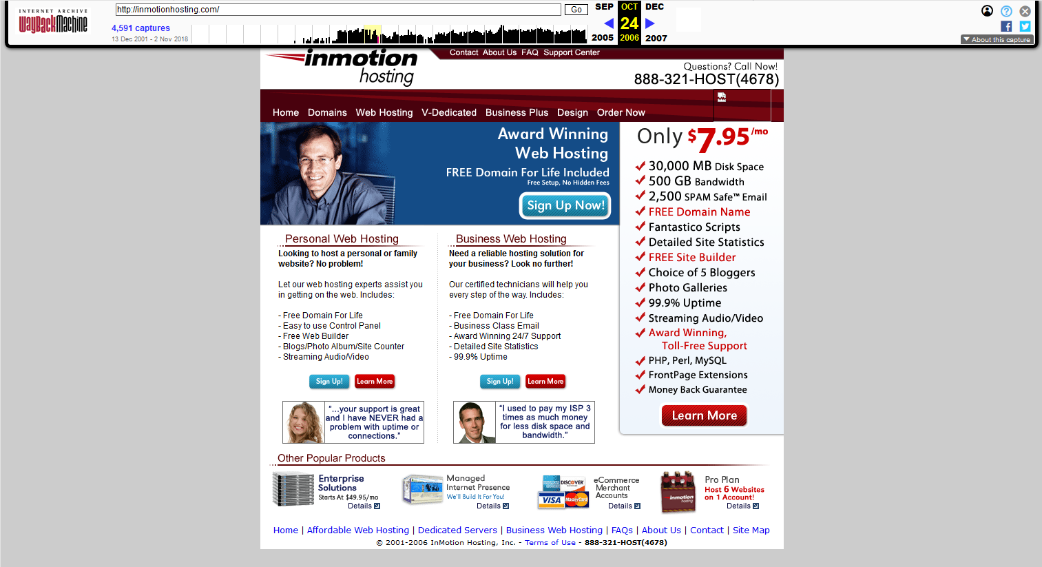 InMotionHosting.com archive from October 2006