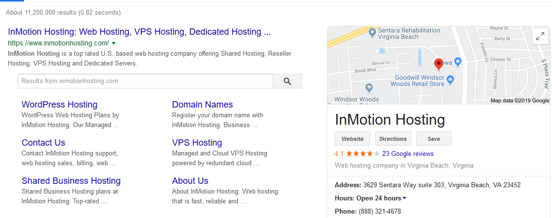 InMotion Hosting Google search results