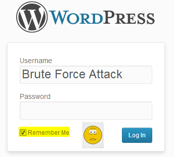 WordPress admin login with brute force attack typed in and remember me checked with frowny face