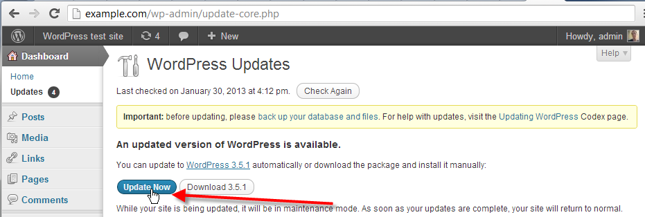 wordpress admin click on update now