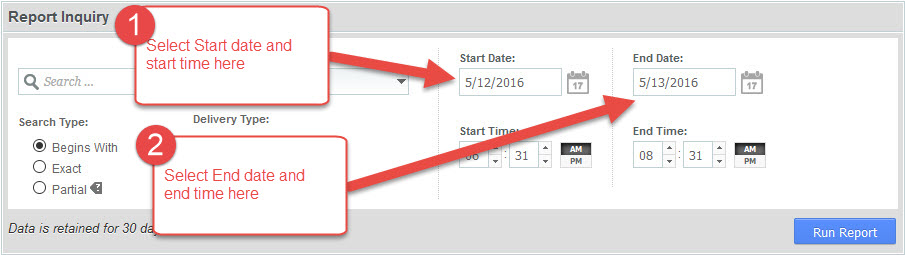 Select start and End date