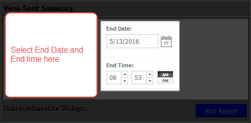 Select End date and time