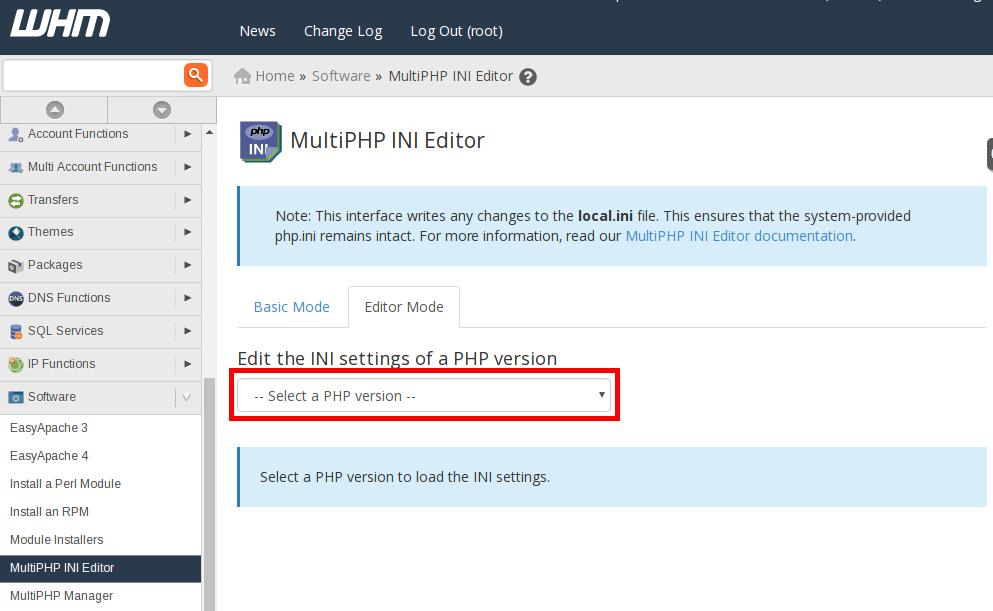editorMode selectVersion