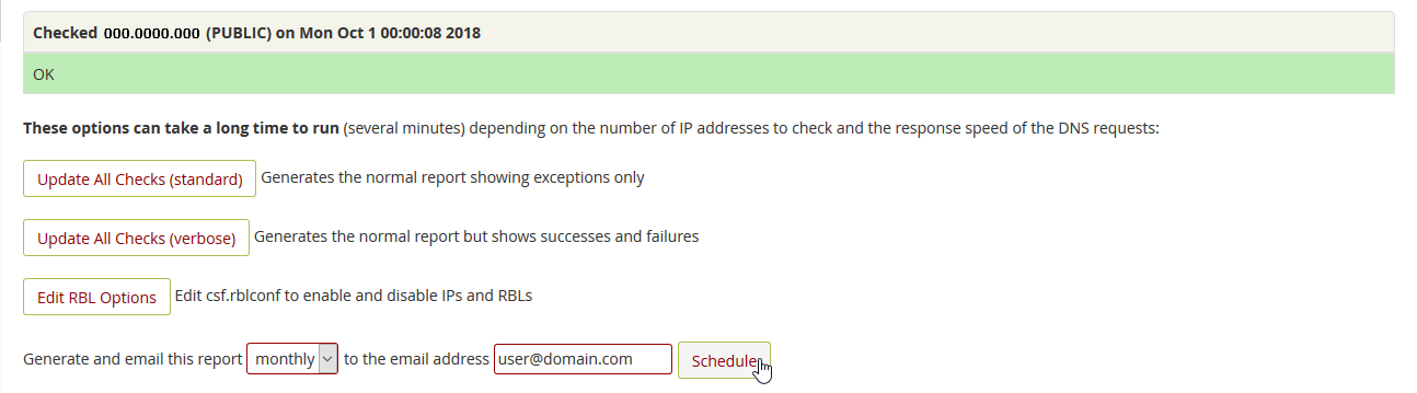 Set email report schedule