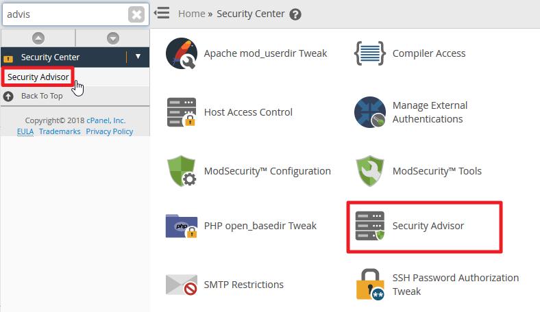 Screenshot in WHM selecting Security Advisor