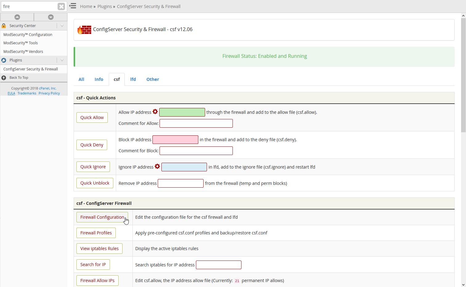 CSF selecting Firewall Configuration
