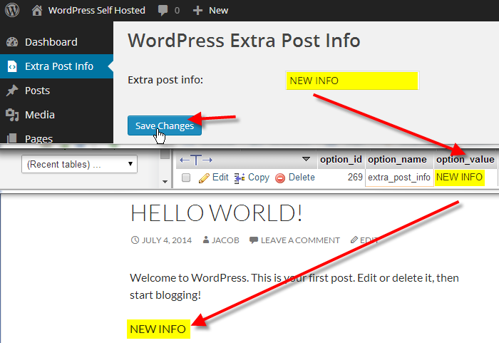 extra post info admin page read setting from database