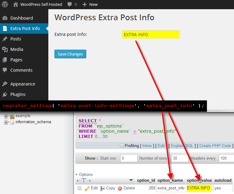 extra post info admin page register setting in database