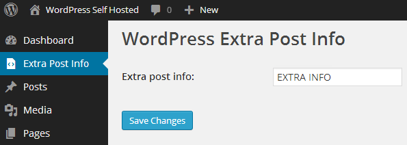 extra post info admin page with non-functional form