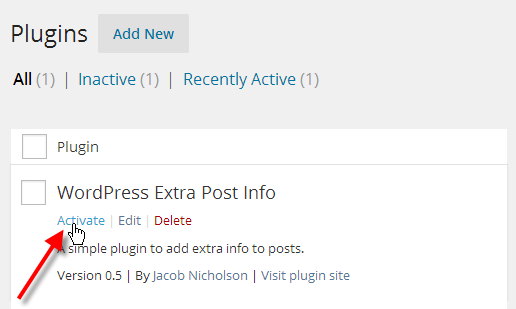 Showing the option to activate the plugin.