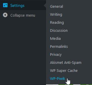Select WP-Piwik under Settings