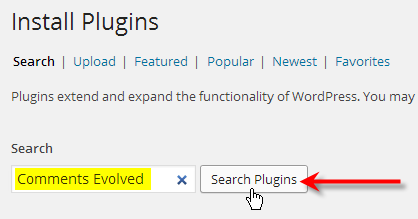 type in comments evolved click search plugins