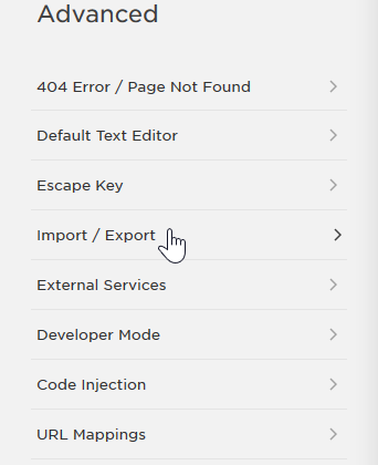 Select Import / Export