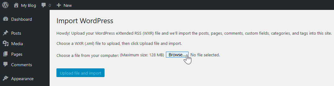 Browse file for import