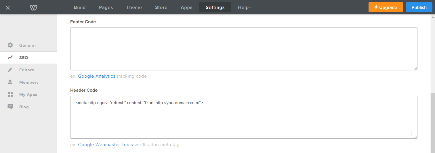 Metadata redirect in Weebly