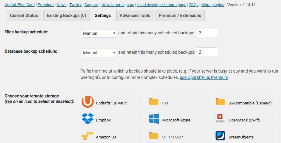 Updraft Settings and backup options