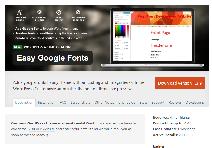 Easy Google Fonts plugin page
