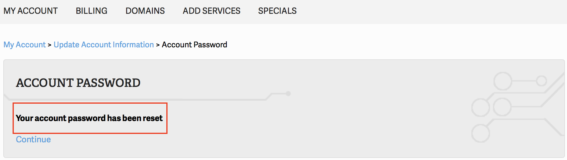 AMP Password reset successful message highlighted.