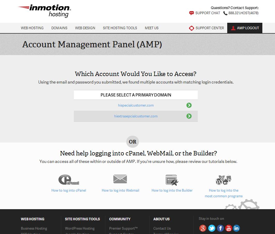Multiple AMP accounts