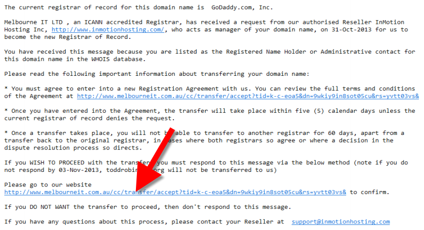 view of domain transfer confirmation email
