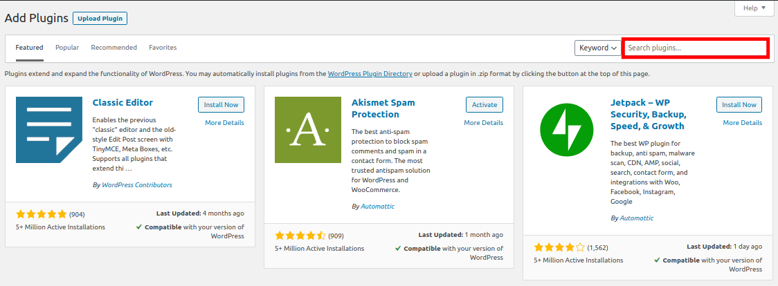 Search for WordPress Plugins