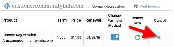 revamp cancel domain registration
