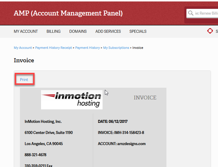 Click on Print at the top of the page in order to print the invoice