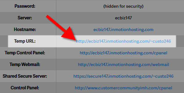 revamp temp url account details