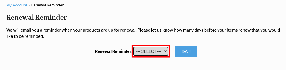 Choose renewal reminder