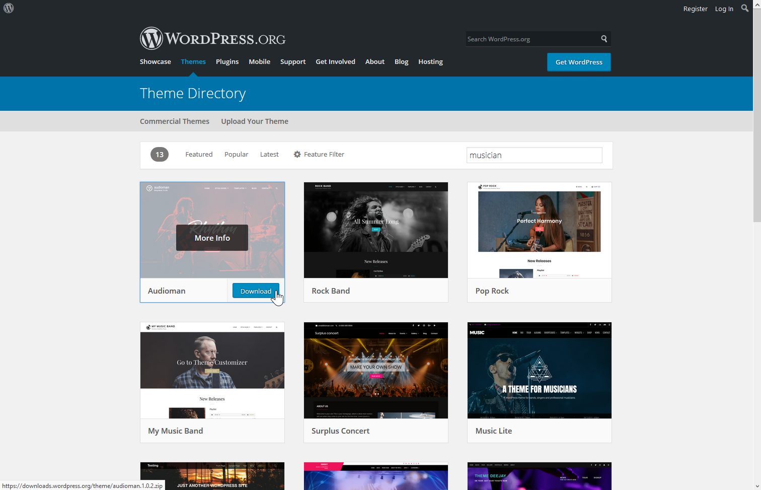 Download a theme from wordpress.org