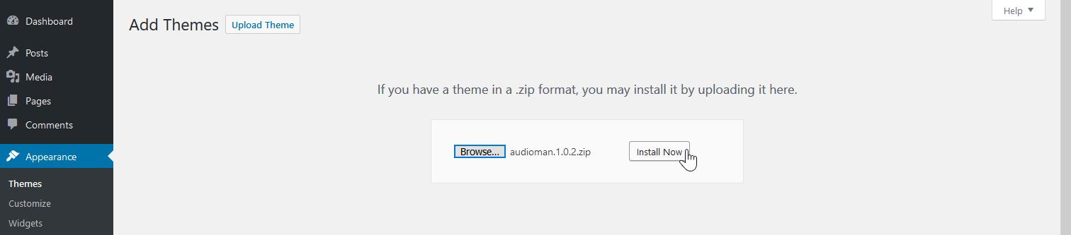 Upload compressed theme file