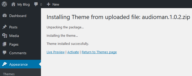 Preview or activate uploaded theme