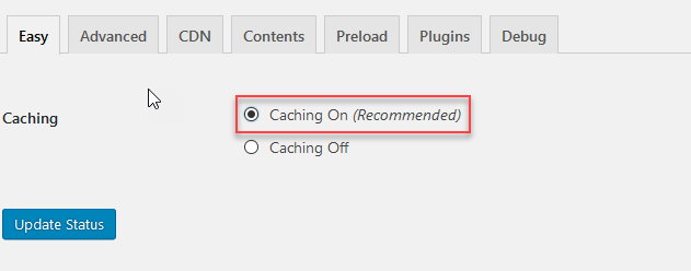 WP Supercache Easy Settings
