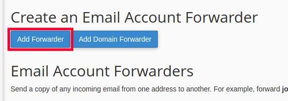 Add Forwarder Button in cPanel