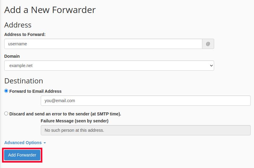 Add Forwarder in cPanel
