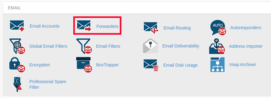 Forwarders Button in cPanel