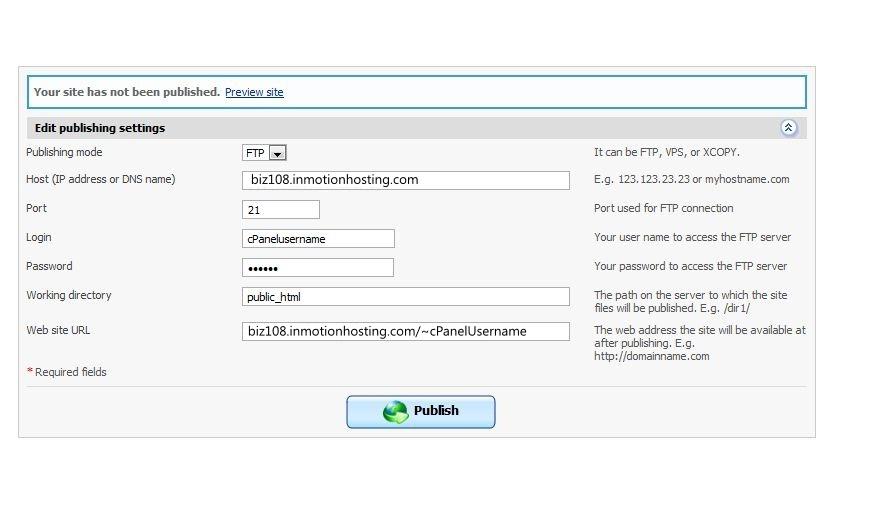 Publishing settings Plesk Builder
