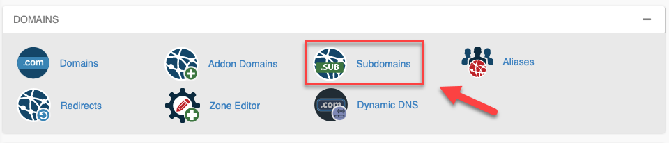 create a subdomain cPanel icon